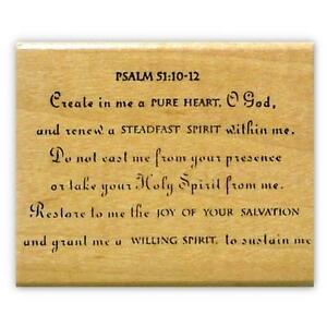 create pure heart mounted rubber stamp christian bible verse psalm