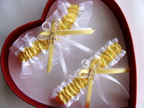 NEW Canary Yellow White Wedding Garter SELECT Single,Set,Reg,Plus Size,Charm