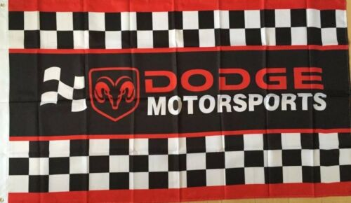 Dodge Motorsports Checkered Flag 3x5 Banner Challenger Charger Ram Mopar Racing