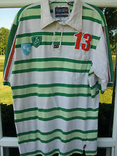English Laundry S/S 100% Cotton Beige Green Striped Soccer Manchester Polo Shirt