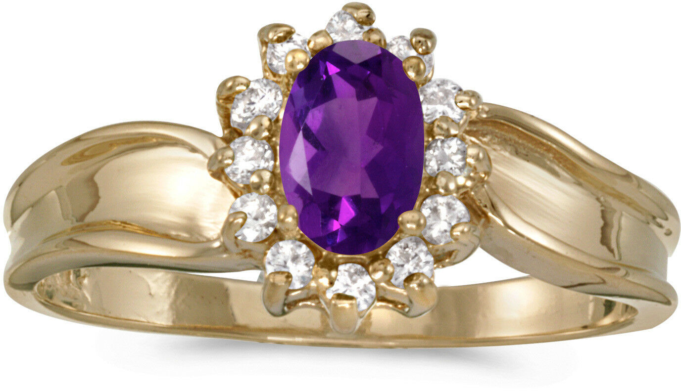 14k Yellow gold Oval Amethyst And Diamond Ring (CM-RM804X-02)