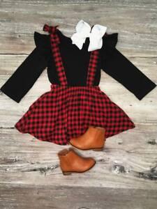 Girls-Toddler-Red-Black-Buffalo-Plaid-Suspender-Skirt-Set-2T-3T-4T-5-6-7-8