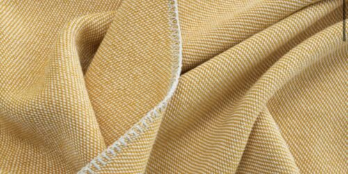 Made.com Malone 100/% Cotton Throw Bedspread Mustard White Woven 150x200cm NEW