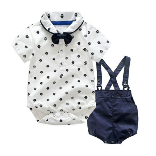 Kids Baby Boys Summer Gentleman Bowtie Short Sleeve Shirt+Suspenders Shorts Suit
