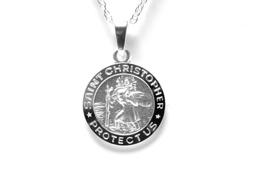 Sterling Silver St Christopher 14mm Pendant and 16 inch chain childs Gift Boxed