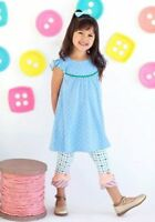 Matilda Jane Outfit Patisserie Scrappy Leggings/blueberry Pearl Dress Size 8