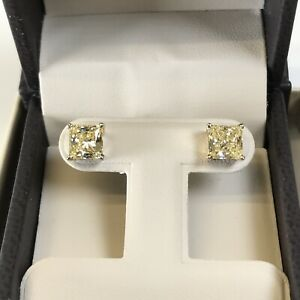 3-Ct-Studs-Diamond-Earrings-Princess-Fancy-Canary-Yellow-Man-Made-14k-Solid-Gold