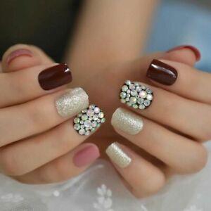 false fake nails mehroon ringstone medium french nail art