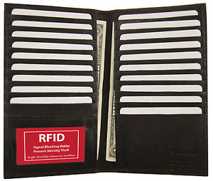 Black-RFID-Blocking-Wallet-Leather-Bifold-19-Credit-Card-ID-Checkbook-Holder