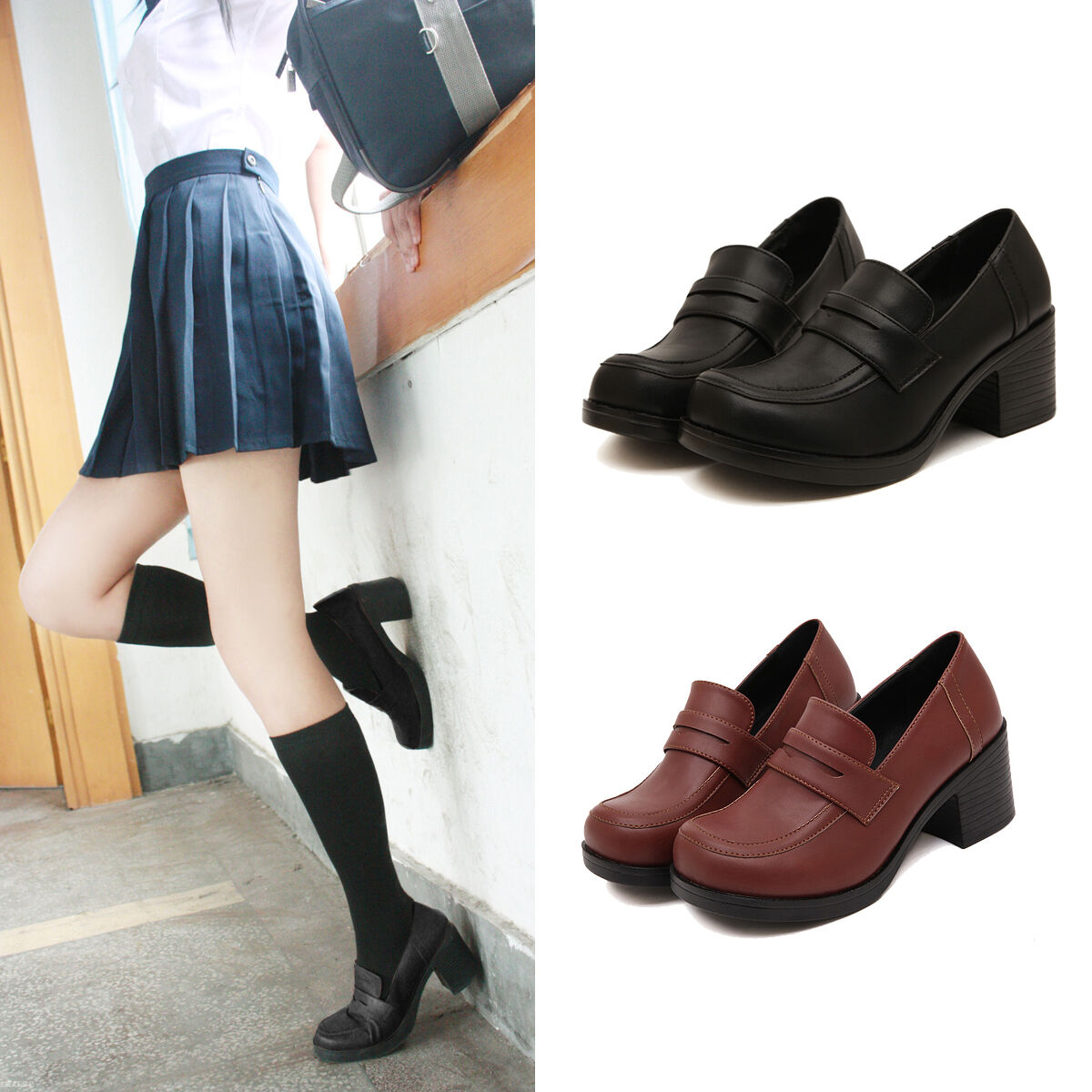 JK Uniform Womens Japanese School shoes Student Leather Block High Heel Cosplay