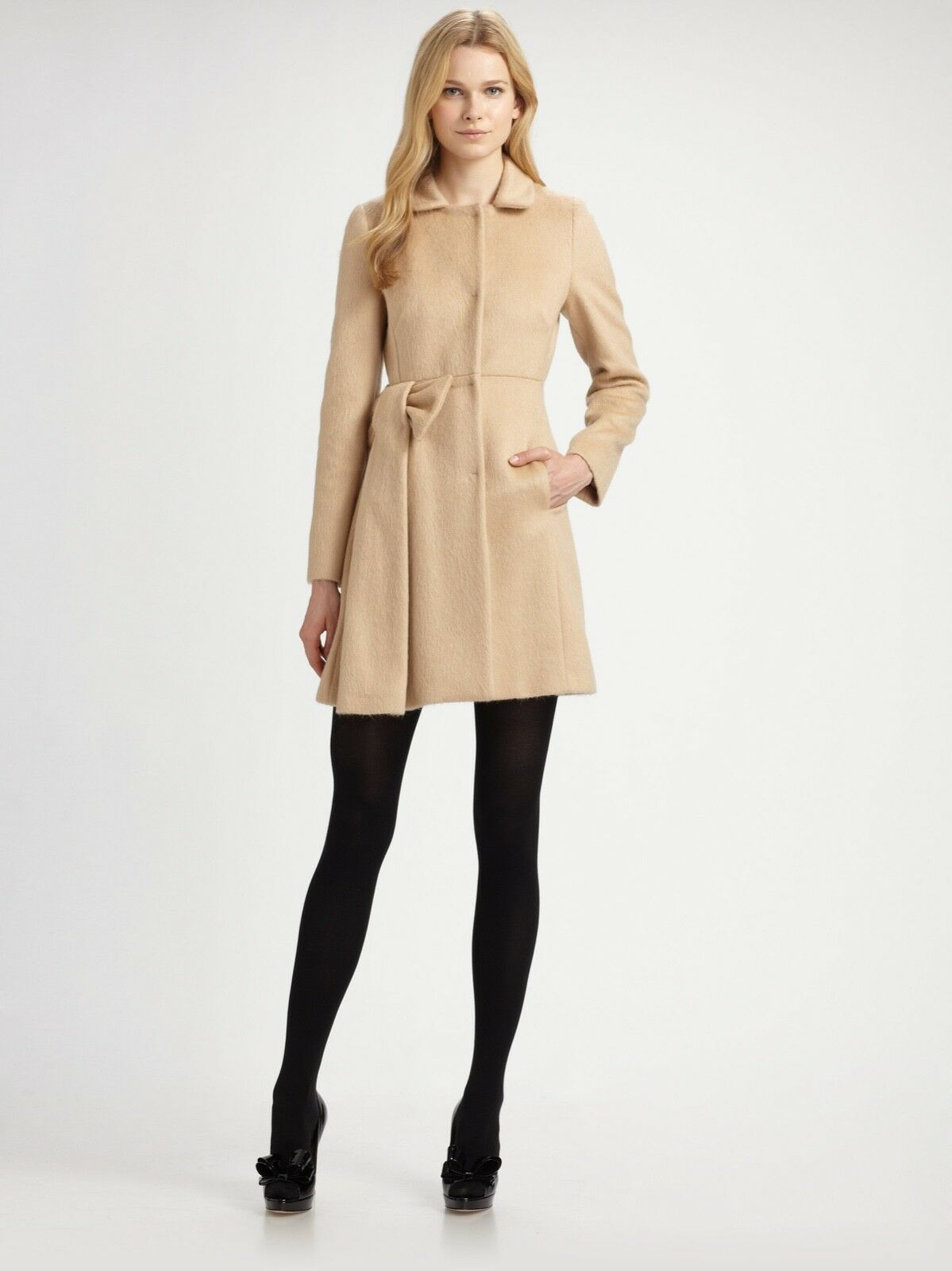 RED Valentino Natural Mohair Bow Coat, Size US6, IT 42