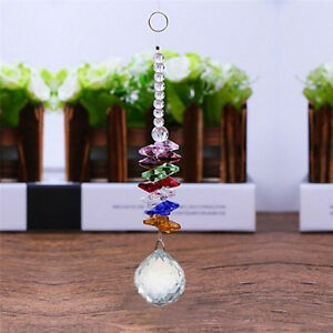 Hanging-Glass-Crystal-Ball-Prism-Pendant-Ornament-Rainbow-Wedding-Gift-New-RS