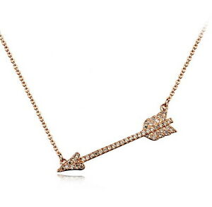 Rose-Gold-Filled-Made-With-Swarovski-Crystal-Women-039-s-Cupid-039-s-Arrow-Necklace-N171