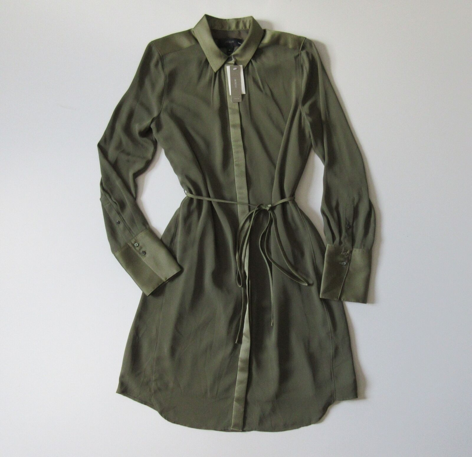 NWT J.Crew Tuscan Olive Green Satin Trim Crepe Button Down Down Down Belted Shirt Dress 6 ca2f2e