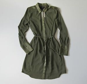 NWT-J-Crew-Tuscan-Olive-Green-Satin-Trim-Crepe-Button-Down-Belted-Shirt-Dress-6