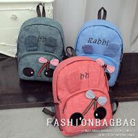 Cute Rabbit Girl's Canvas Travel Satchel Backpack School Bag Rucksack Bookbags