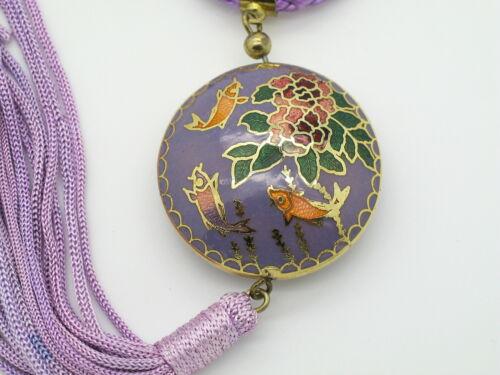 CLOISONNE COLLANA CIONDOLO Necklace CLOISONNE GIOIELLO COLLIER VINTAGE HALSKETTE