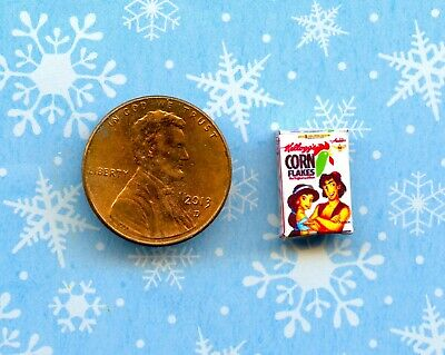 1//2 Half Inch Scale  Dollhouse Miniature Frosted Cereal Flakes  Box