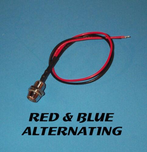 FLASHING LED 5mm 12V CHROME BEZEL RED-BLUE ALTERNATING