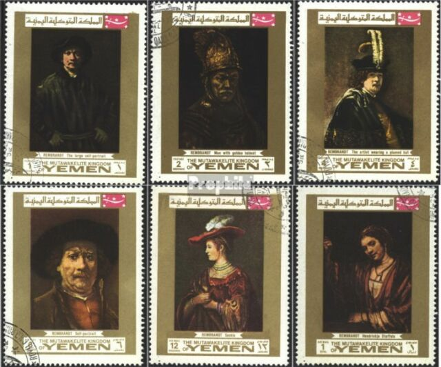 Yemen(UK) 710A-715A (complete issue) used 1969 Rembrandt-Painti