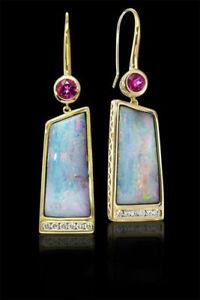 Lady-Simple-18k-Gold-Filled-Earrings-Opal-amp-Ruby-Jewelry-Ear-Hook-Dangle-Drop