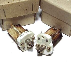 Air-Variable-Ceramic-Capacitor-7-125pF-400V-Silver-Plated-USSR-New-Old-Stock