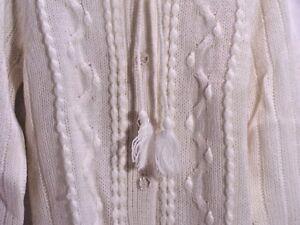 Sweater-Ivory-Cardigan-Tie-Neck-Tassel-Vintage-039-70-039-s-Queens-Way-To-Fashion-Sz-M
