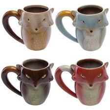 Set Of 4 Gibson Large 18oz Ceramic Fox Coffee Mugs Handmade Funny Large Tea Cups