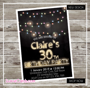Personalised birthday party invitations 30th 40th 50th 60th 21st image is loading personalised birthday party invitations 30th 40th 50th 60th filmwisefo Gallery
