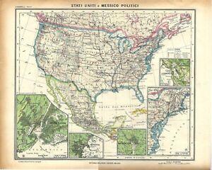 Stati Uniti Cartina Politica.Carta Geografica Antica Stati Uniti Messico America 1939 Old Antique Map Ebay