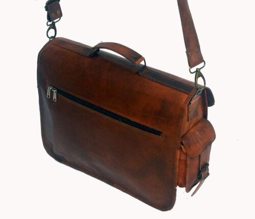 "18/"" Men/'s /& Women/'s Soft Vintage Leather Messenger Laptop Briefcase Satchel Bag"
