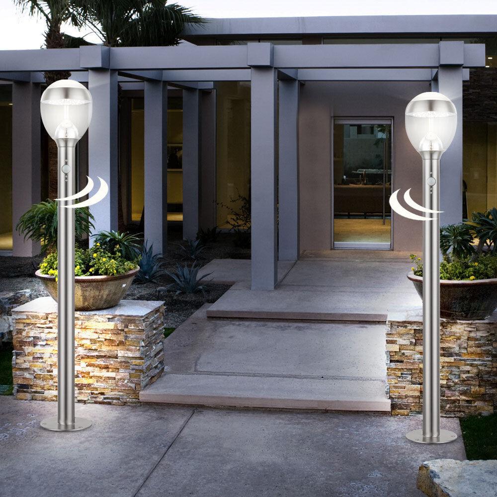 2x LED zócalo luminarias porche exterior stand lámparas detectores de movimiento iluminación