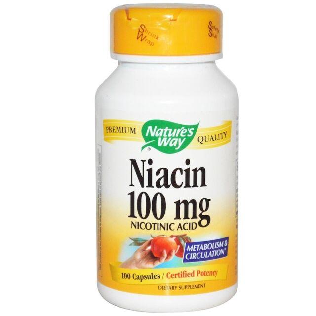 NATURES WAY NIACIN 100 mg - 100 Capsules VITAMIN B3 NICOTINIC ACID FORMULA - NEW