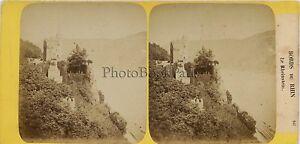 Bord-Del-Reno-Rheinstein-Germania-Foto-H-Jouvin-Stereo-Vintage-Ca-1860