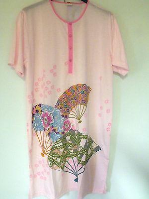 Damen Nachthemd Gr.52 / 2XL , DNH/313-3 , kurzer Arm ,100% BW, rosa