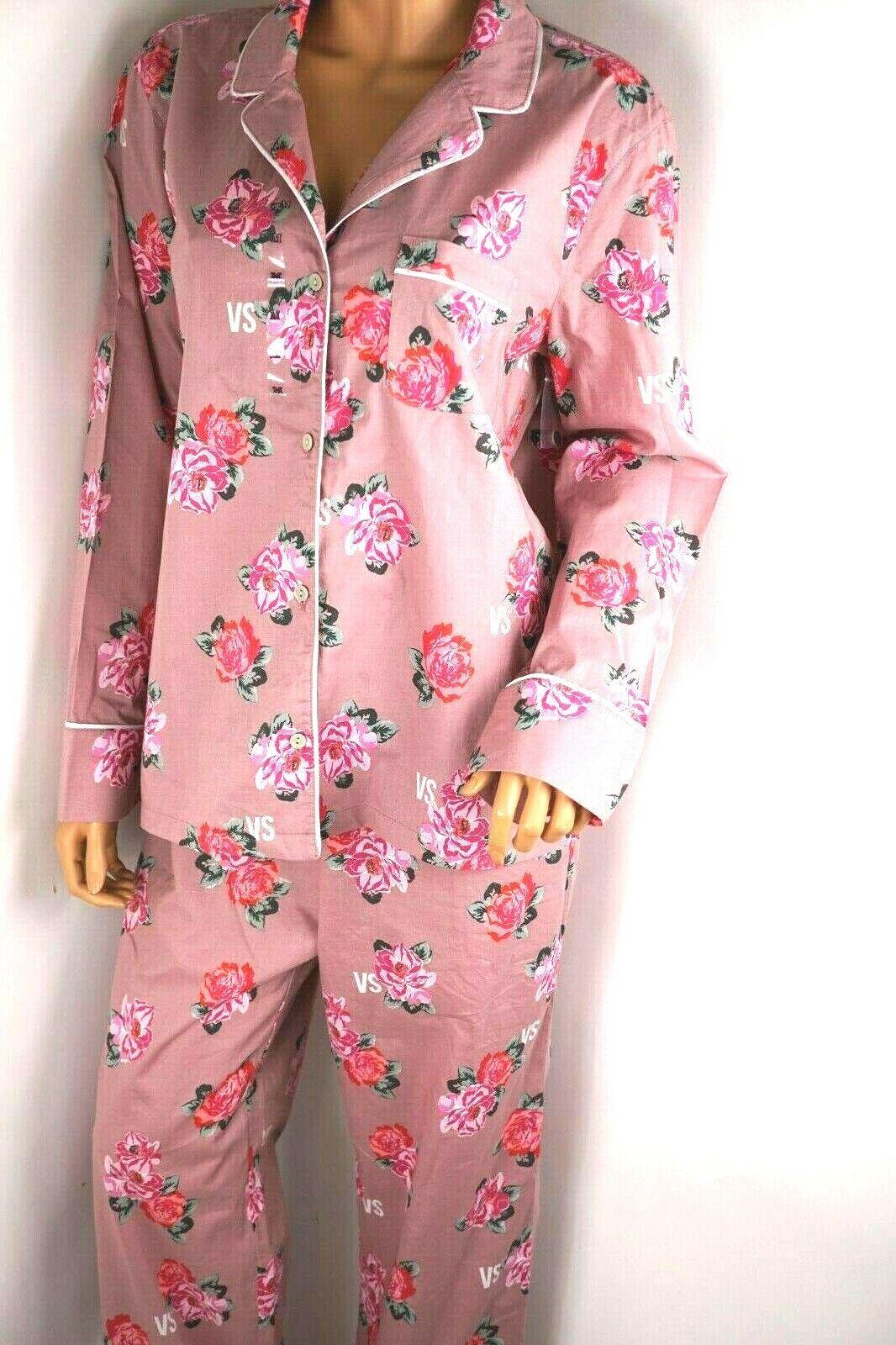VICTORIA'S Secret Floral Purpurina Ligero Algodón Sleeping Pijama Pj 2 Pzas