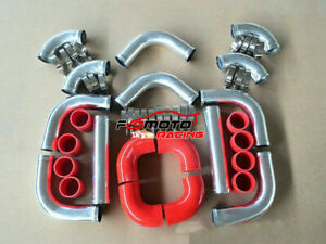 2-25-034-57mm-Universal-aluminum-Intercooler-Pipe-Piping-red-Silicone-Hose-T-Clamps