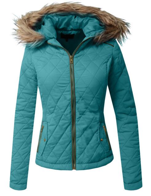 NE PEOPLE Women Lightweight Padded Fur Trimmed Hood Zip Up Quilted Jacket NEWJ49