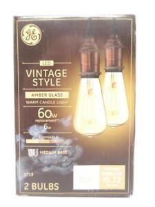 GE LED Vintage Light Bulb ST19 Amber Glass Edison Bulb Dimmable Medium Base 2pk