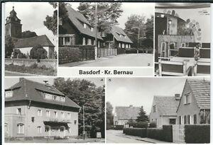 Ansichtskarte Basdorf - Dorfkirche, Puschkinstraße, Filmtheater, Eichenstraße sw