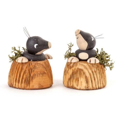 NEU Erzgebirge Sammelfigur Miniatur Holz Deko Tiere FIGUR Maulwurf 2-tlg