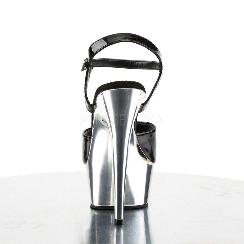 PLEASER Delight 609 sandali plateau cromo nero vernice tabledance POLEDANCE. POLEDANCE. tabledance 4076de