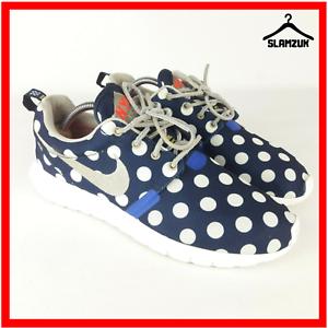 Nike-Rosherun-casi-como-nuevo-City-Qs-USA-NYC-para-hombre-Azul-Lunares-Zapatillas-UK-8-5-43-Raro