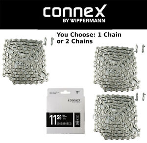 1or 2Pak Wippermann Connex 9SX 9 Speed Bike Silver Chain Nickle /& SS Plates