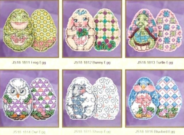 Mill Hill Jim Shore Counted Glass Bead Kits ~ EASTER EGGS Set of 6 #18181
