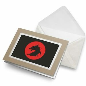 Greetings-Card-Biege-Mythical-Dragon-Pattern-Gamer-Retro-4740