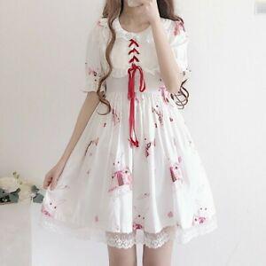 Lady-Girls-Lolita-Dress-Puff-Sleeve-Ruffle-Rabbit-Graphics-Princess-Kawaii-Cute