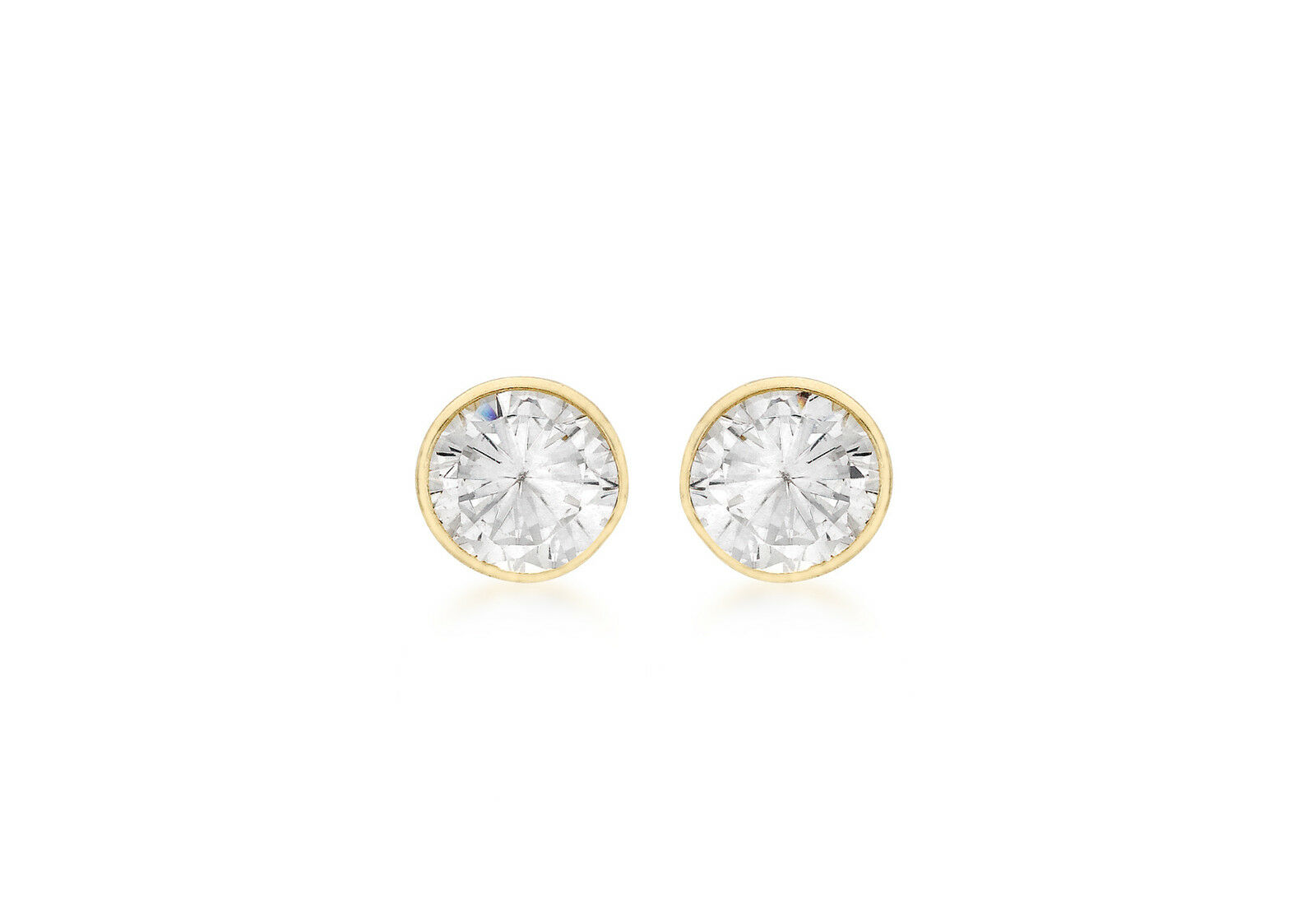 9ct Yellow gold 6mm Cubic Zirconia Stud Earrings Solid gold Box Gift Jewellery