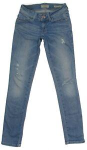 GUESS-Womens-Jeans-Curvette-Mid-Rise-Slim-Size-24-Distressed-Stretch-Blue-Denim