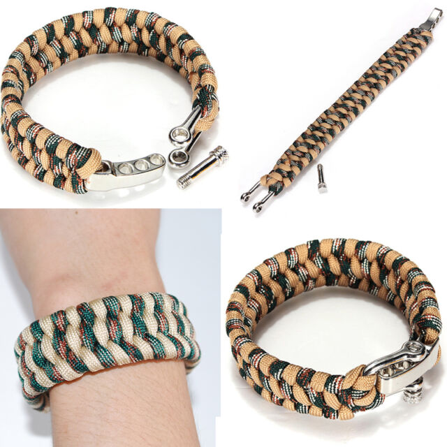Brand New ParaCord Survival Bracelet Weave Stainless Steel Shackle Buckle Camo